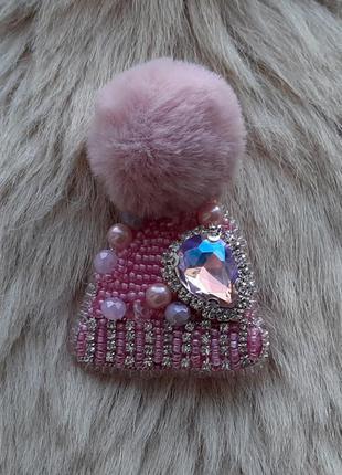 Брошка шапочка шапка з бісеру/брошь шапочка пудра из бисера