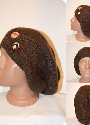 Chicoree ® крутая теплая зимняя вязаная  шапка  с значками размер: one size