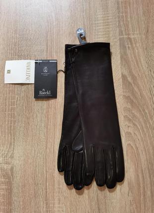 Длинные перчатки рукавицы roeckl madeleine 7.5 s/m натуральная кожа