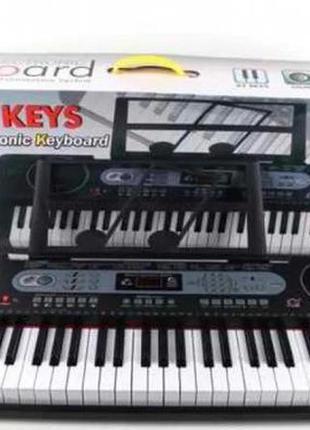 Синтезатор детский, музыкальный центр с микрофоном и подставкой для нот mq6130 (61 клавиша)