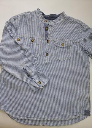Рубашка, рубашка льяная, рубашка голубая