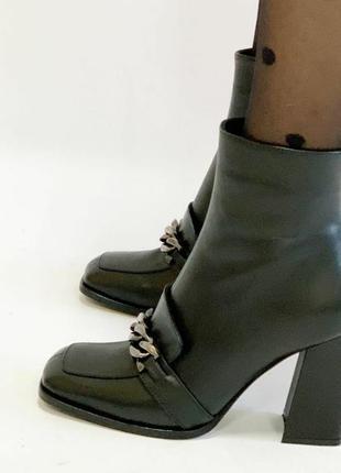 Шикарные ботиночки на байке с цепью,натуральная кожа.