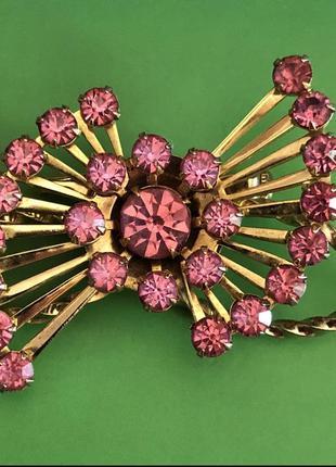 Вінтажна брошка 50-60 років рожеві кристали