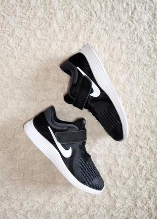 Nike revolution 4 черные кроссовки кеды сетка липучка р. 26-27 16,5 см