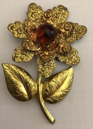 Вінтажна брошка у вигляді квітки скло