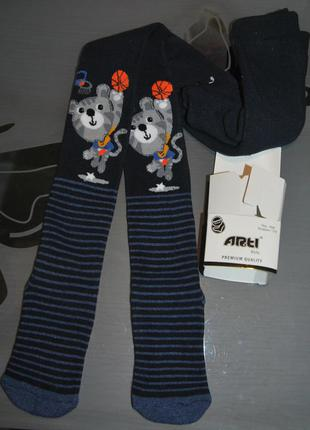 Махровые теплые колготы 5-6 турция арти arti полоски енот