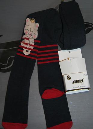 Махровые теплые колготы 7-8 турция арти arti котик полоски