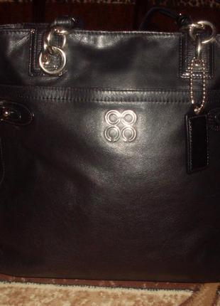 Большая объемная кожаная сумка - 100% натуральная кожа! coach! оригинал!