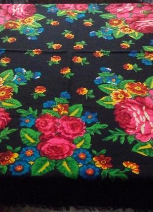 Роскошный платок,шерсть,павлопосадский стиль,88х91