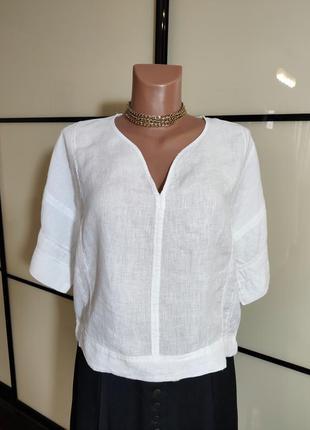 Zara  белая льняная блузка с мережкой м