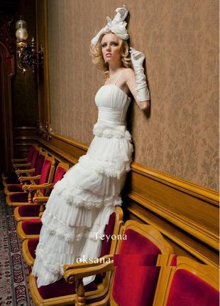 Свадебное кремовое вечернее выпускное платье бренд oksana mukha