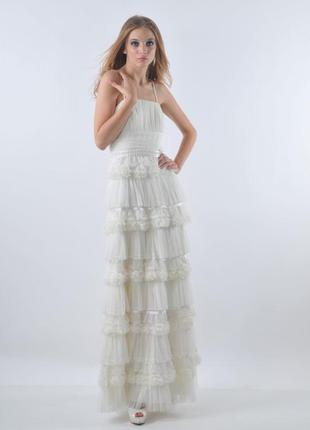 Кремовое вечернее выпускное свадебное платье бренд oksana mukha e2abf2d7e5b8e