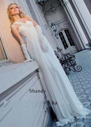 Кремовое вечернее выпускное свадебное платье бренд oksana mukha