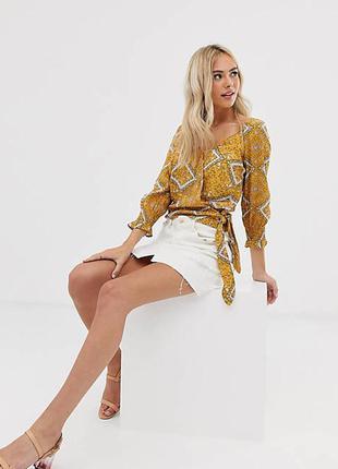 Тренд блуза на запах pimkie collection  принт рубашка пояс кроп
