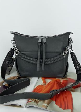 Женская кожаная сумка на через плечо серая черная бордовая polina & eiterou полина жіноча шкіряна сумка