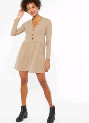 Платье в рубчик с карманами new look🖤