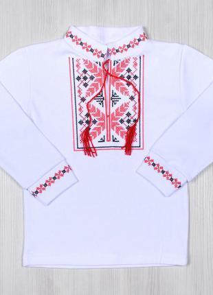 Вышиванка ціна від 236 грн.  для мальчика длинный рукав с орнаментом цветка интерлок