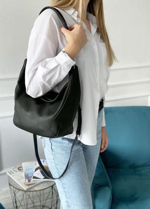 Женская кожаная сумка большая на через плечо чёрная полина polina & eiterou жіноча шкіряна сумка