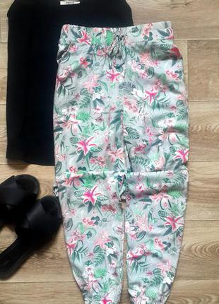 Летние штаны в цветочный принт, летние штаны из натуральной ткани, повседневные штаны