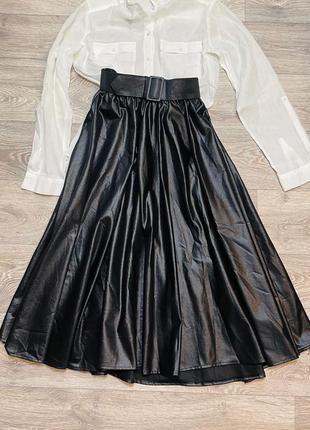 Кожаная юбка миди экокожа с поясом