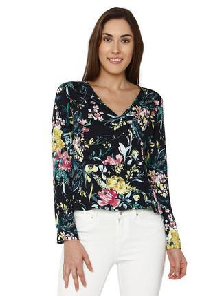 1+1=3 актуальная блуза с флористическим принтом на пуговицах с запахом