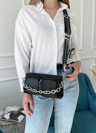 Женская кожаная сумка через плечо чёрная серая полина polina & eiterou жіноча шкіряна