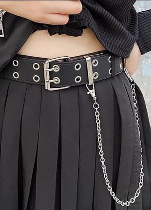 Ремень новый чёрный широкий с цепью регулируется по всей длине стильный актуальный