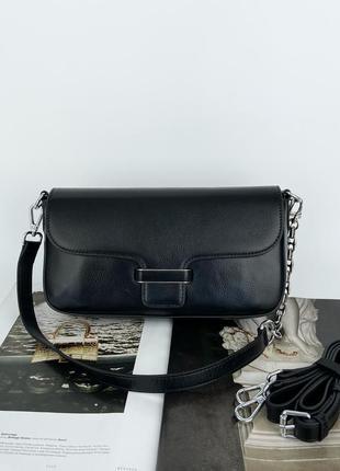 Женская кожаная сумка клатч на через плечо чёрная стильная жіноча шкіряна сумка