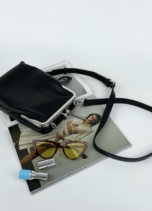 Женская кожаная сумка клатч через плечо чёрная полина polina & eiterou жіноча шкіряна сумка клатч чорний поліна