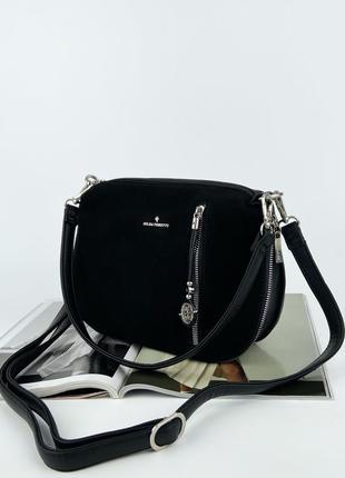 Женская замшевая сумка клатч на через плечо чёрная gilda tohetti жіноча замшева сумка чорна