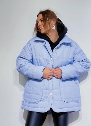 Женская стеганная куртка-рубашка