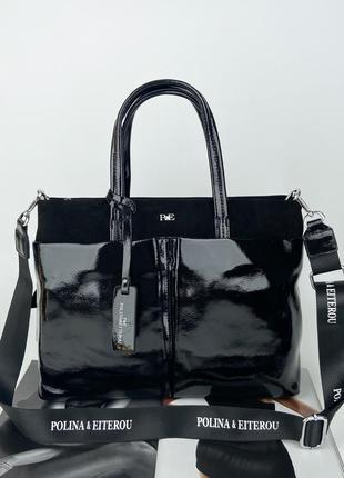 Женская кожаная сумка портфель лаковая замшевая чёрная полина polina & eiterou жіноча шкіряна сумка чорна лакова
