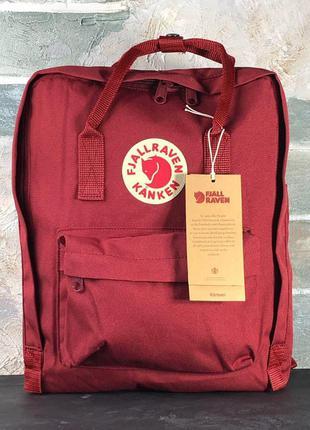 Рюкзак fjallraven kanken burgundy 16l наплічник канкен 16 літрів бордовый рюкзак