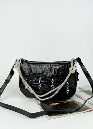 Женская кожаная сумка на через плечо плечо лаковая крокодил жіноча шкіряна лакова сумка