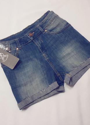 Bershka джинсовые шорты высокая посадка талия