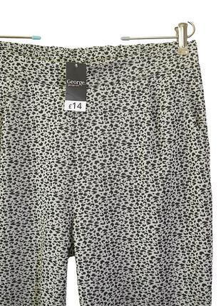 Стильные укороченные жаккардовые брюки на резинке р.16