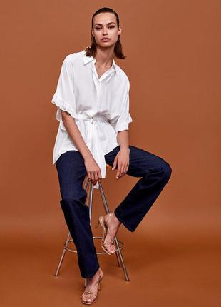 Стильна блуза zara woman з рюшами пояс рубашка топ сорочка