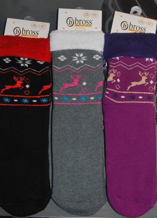 Теплые махровые носки bross 7-9, 9-11 лет олени бросс