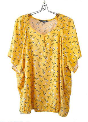 Очаровательная цветочная блуза тепло-желтого цвета р.24