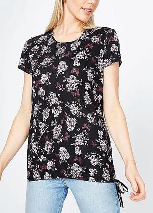 Красивая цветочная футболка из чистого хлопка р.16