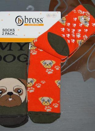Набор 2 шт махровые носки 7-9 лет bross бросс собачка