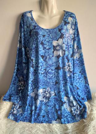 Блуза удлиненная, в цветы, большой размер, р.24/6xl