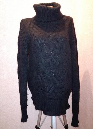 Черный свитер с горловиной,косы,грубая вязка шерсть+