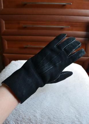 Теплые перчатки рукавицы варежки натуральная замша овчина.