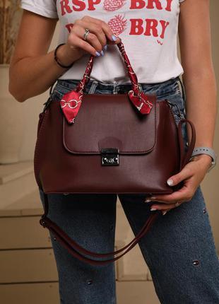 Женская сумка с ручкой бордовая сумка через плечо бордовый клатч через плечо кроссбоди