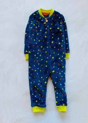 Mothercare стильный теплый   плюшевый ромпер-комбинезон  на мальчика  1-1,5 года