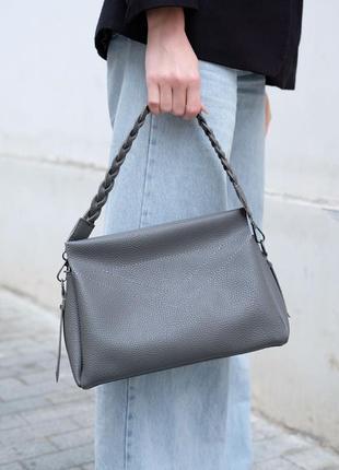 Женская сумка через плечо серая сумка серый клатч через плечо кроссбоди серая кросс боди