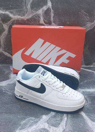 Подростковые кроссовки nike air force кожаные, белые, демисезонные