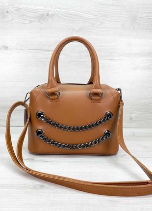 Женская сумка рыжая сумка среднего размера сумка с длинным ремешком терракотовая сумка