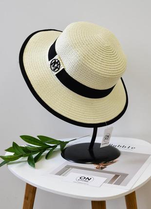 Женская летняя соломенная шляпа канотье белого цвета